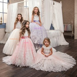 Wholesale Sweetheart Rhinestone Feather - NEW Flower Girl Dresses The First Communion Vintage Jewel Sash Lace Net Baby Girl Birthday Party Christmas Princess Dresses Party Dresses