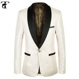 Wholesale Wedding Blazer Designs For Men - Blazer Men Champagne Floral Pattern Wedding Suit toturn 2017 Jacket Slim Fit Stylish Costumes Stage Designed Blazer for Single Mens Blazers