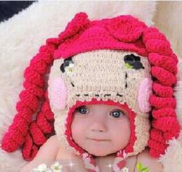 Peruca de bowknot on-line-Chapéu Lalaloopsy Bebê Recém-nascido Da Criança Do Bebê Meninas Crochet Malha Chapéu Crianças Crianças Infantis Princesa Bowknot Perucas de Cabelo Encaracolado Gorro de Algodão