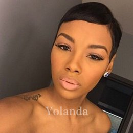 Wholesale Super Short Wigs - 2017 Celebrity short bob hair wigs brazilian hair super short straight wigs Cheap Human Hair Wigs with bang