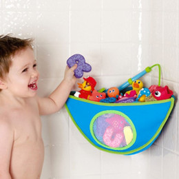 Wholesale Bath Wall Storage - Storage Bags Sucker Type Corner Container Waterproof Triangle Storages Bag Blue Grid Water Leaking Tubby Bath Toy Organizer 17 8pl D R
