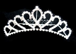 Wholesale Queen Hearts Tiara - Shining Tiaras Crowns Sweetheart Rhinestone Sparkle Wedding Bridal Tiara Crown Queen Clip Women Headpiece Cheap wedding accessories