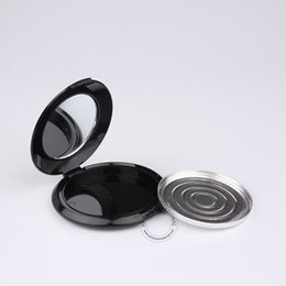 Wholesale Wholesale Glass Powder Container - 50 x 10g Black Plastic Powder Blush Jar With Mirror + Aluminium Tray Empty Portable Cosmetic Box + Flip Lid Packaging Containers