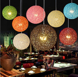 Wholesale Fibre Led Wholesale - led colorful pendant lighting fibre ball restaurant lighting rattan field pasta ball e27 LED pendant light bar cafe lamps
