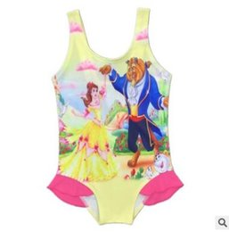Wholesale Wholesale Character Onesies - Beauty and the Beast Girl Swimwear 2017 Summer Kids One-Piece Swimsuit Belle Onesies Swimming Clothes Girls Summer Swim Bikini Kids Clothing