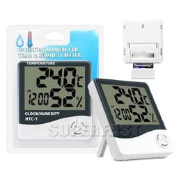 2019 relógios de mesa de cerâmica Higrômetros internos dos termômetros Multi-funcionais dos termômetros da temperatura e de umidade de Digitas com pacote de varejo