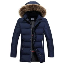 Wholesale Quality Dog Coats - Wholesale- Raccoon Dog Fur Winter Warm Down Jacket 2016 New Men Thick Hooded Coat Long Mens Parka Jacket High Quality Brand 3 Color