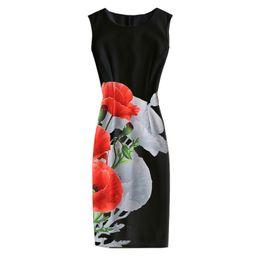 Wholesale Ladies Gray Pencil Skirts - 15 Colors 2017 summer women floral print ladies dress bodycon sleeveless Vintage style floral printed mini beach bohemian dress pencil skirt