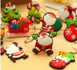 Wholesale Keychains Children Wholesale - 2017 new Christmas Santa Claus PVC Soft Rubber Keychains Creative Christmas Tree Key Chain Key Ring For Christmas Children Gifts