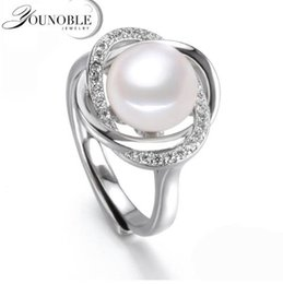 Wholesale Jewelry Cultured Black Pearls - Real freshwater pearl rings 9-10mm women,cultured pearl rings 925 silver jewelry adjustable ring with pearl mom birthday gift white