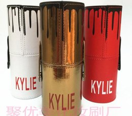 Wholesale Makeup Brushes 12 Pieces - New Kylie Makeup Brush Cosmetic Foundation BB Cream Powder Blush 12 pieces Makeup Tools Black   red   Gold Free Shipping