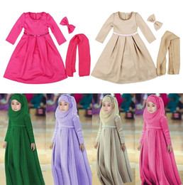 Wholesale Spring Color Scarves - Muslim Girls Childrens Dresses Scarf Bow Clothing 3pcs Sets Long Sleeve Princess Dress Girl Kids National Costume Teenages Clothes Wholesale