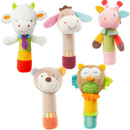 Wholesale Deer Plush Doll - Wholesale- Baby Rattle Toys Animal Hand Bells Plush Baby Toy With BB Sound Toy Newbron Gift Christmas Bear Owl Deer Donkey Doll MU879434