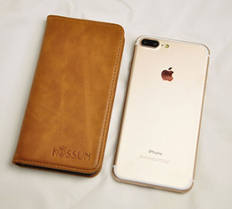Wholesale Exclusive Cases - iPhone 7 iPhone 7 Plus leather wallet case genuine leather phone wallet top layer cowhide leather KISSUN exclusive designs