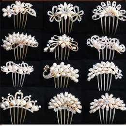 Wholesale Rhinestone Hair Pins Comb - Bride hairpin Peacock pearl flowers Wedding crystal rhinestone pearl flower hairpin diamante clip hair comb pin comb