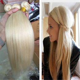 16 armure de 18 longueurs Promotion 8A Platinum blonde cheveux raides, 613 cheveux brésiliens 3 faisceaux, longueur mixte 8-30 pouces, tissages de cheveux humains non transformés