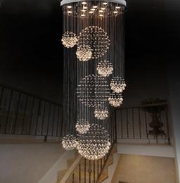 gran vestíbulo de iluminación Rebajas Lámpara moderna lámpara de cristal grande para el vestíbulo Escaleras Escalera Foyer Largo Espiral Lustre Lámpara de techo Escalera montada al ras Luz