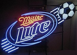 Wholesale Neon Football Signs - Fashion Hanscraft Miller Lite Soccer Football NEON SIGN FIND YOUR BEACH Real Glass Beer Bar Display Neon Sign24x20!!!