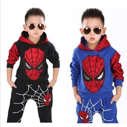 Wholesale Spiderman Sweatshirt - Spiderman Children Clothes Sets Boys Tracksuits Hooded Sweatshirts + Trouser Sport Suit Kids Outfits 2pcs Clothing Set Costumes 100% Cotton