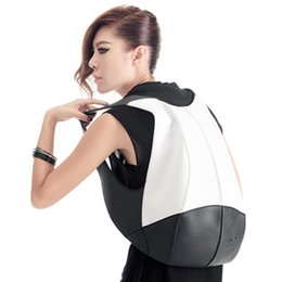 Wholesale Backpack Faux Leather - Wholesale- Women Backpack Fashion PVC Faux Leather Turtle Backpack Leather-Bag Women Traveling AntiTheft Backpack Black White Free shipping