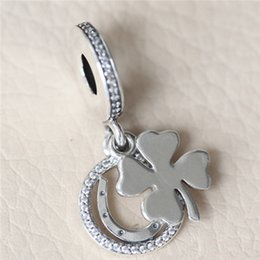Wholesale Pandora Lucky Charm - 2017 Loose Bead 925 Sterling Silver Lucky Day Dangle Charm with Clear Cz Fits European Pandora Jewelry Bracelet Necklace & Pendant