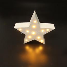 Wholesale Dorm Lights - Wholesale- MINI white wooden star shape light LED Marquee Light Sign LED light valentine's gift Indoor Dorm FREE SHIPPING