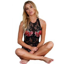 Wholesale Halter Top Jumpsuits Women - Halter lace floral embroidery bodysuit Women elegant hollow out backless black jumpsuit romper Summer lingerie top femme Party Women Clothes