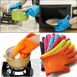 Wholesale Pot Protectors - Kitchen Heat Resistant Silicone Gloves Oven Pot Holder Baking BBQ Cooking Mitt Protector 5 Colors 20pcs NAA023