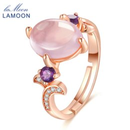 Wholesale Sterling Silver Rose Quartz Rings - LAMOON 8x10mm 100% Natural Oval Pink Rose Quartz Ring 925 Sterling Silver Jewelry Rose Gold Romantic Wedding Band LMRI017