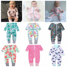 Wholesale Toddler Girl Floral Long Sleeve - INS Baby Boys Girls flower Zipper Romper Toddler Floral Dot Jumpsuits Infant Cotton Long Sleeve Spring autumn Suits KKA2417