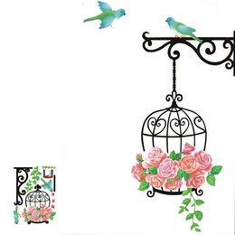 Wholesale Free Wallpaper Designs - Cartoon Bird and Birdcage wall stickers for children Bedroom Living Room background DIY Home Decoration Wallpaper Free shipping