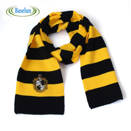Wholesale Wholesale Kids Costume Scarves - Wholesale- New Fashion Kids Ravenclaw Scarf Gryffindor Scarf Magic School Slytherin Scarves Cosplay Costume With Badge