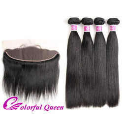 Wholesale Lace Closures Queen - Colorful Queen Raw Indian Hair 4 Bundles with Lace Frontal Closure 5Pcs Lot Indian Silky Straight Virgin Hair with Lace Frontal Closure