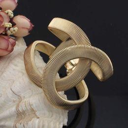 Wholesale Ring Cuffs - Fashion Designer CC Jewelry Elegent Alloy Wide Spring Cuff Bracelet Bangles Statement Jewelry Fashion Bangle For Women