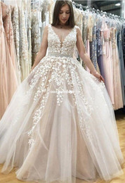 Wholesale Crystals Drop Waist Wedding Dresses - New Brand White Appliques Wedding Dresses 2017 V Neck Sexy Backless A Line Waist With Beaded Crystal Bridal Gown Chic Rustic Garden Custom
