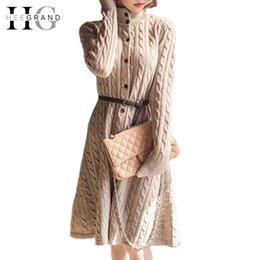Wholesale Knee Length Sweaters For Women - Wholesale-HEE GRAND Autumn Winter Cardigans For Ladies Thin Wool Sweater Fashion Knitted Knee-length Cardigan Women WZQ020