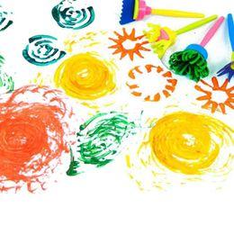 Wholesale Educational Paint Supplies - Wholesale- 2017 Kids Intelligence Educational Set Art Supplies DIY Painting Tools Flower Stamp Sponge Brush Drawaing Toys 4pcs set