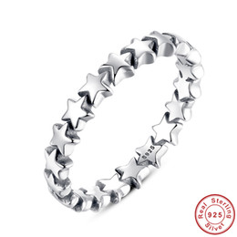 Wholesale Band Collection - New Collection Star Trail Solid color Stackable Finger Ring For Women's Leisure Party Jewelry 100% 925 Sterling Silver Size 6 7 8 9