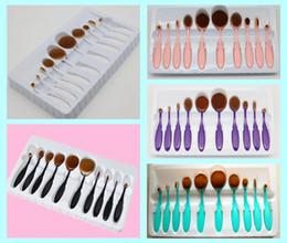 Wholesale Cosmetic Brush Hair - Makeup brush Oval brush Toothbrush 10pcs Foundation Eye Shadow Blusher Soft Shape Curve Brushes Foundation Cosmetic Tools DHL free ship