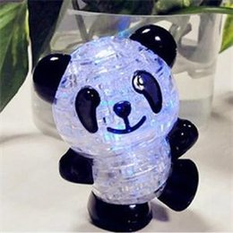 Wholesale Baby Panda Toy - New 2017 Lovely Panda Shape 3D Puzzles Practical Gift for Babies Cute Toys Creative Crystal Puzzle DIY Toy