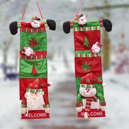 Wholesale Ornament Hangers - 20*70cm Santa Claus Christmas House Door Decoration Hangings Snowman Hanger Welcome Signs Merry Christmas Tree Ornament