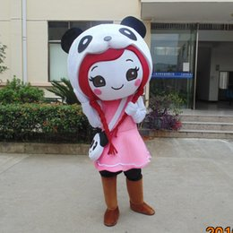 Wholesale Panda Costumes For Girls - customized mascots high quality funny panda girl mascot costume adlut funny girl outfits happy cartoon character mascots for sale