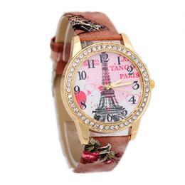 Wholesale Retro Eiffel Tower Wristwatch - Retro Eiffel Tower Pattern bracelet watches women ladies brand quartz luxury fashion rhinestone diamond watch Wristwatches wholesale