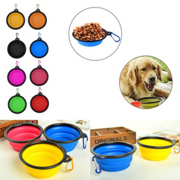 Wholesale Cat Feeding - Portable Collapsible Pet Dog Cat Feeding Bowls with buckle Compact Outdoor Travel Silicone Feeder wholesale free shipping