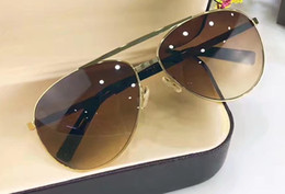 Wholesale Vintage Sunglass Frames - Luxury Men Attitude Pilote Gold Sunglasses Brown Len Vintage Sunglass Men brand designer sunglasses new with box