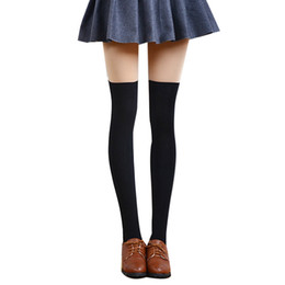 Wholesale gray cotton thigh high socks - Wholesale-Hot Sale Women Sexy Thigh High Stockings Over Knee Solid Color Long Cotton Blends Winter Stockings