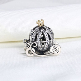 Wholesale Pandora Pumpkin Bead - Wholesale Real 925 Sterling Silver Gold Plated Cute Pumpkin Car European Charms Beads Fit Pandora Snake Chain Bracelet DIY Jewelry