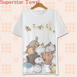 Wholesale Japanese Lolita - Wholesale-2016 Summer Harajuku Shirt Neko Atsume Anime Cartoon Japanese Kawaii Clothes Casual Female T-shirt Cat Tops Tee Lolita Vestidos