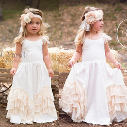 Wholesale Kids Western Dresses - 2017 Cheap Hot Boho Chiffon Flower Girls Dresses for Western Country Weddings Custom A Line Cap Sleeves Kids Party Birthday Wear Gowns
