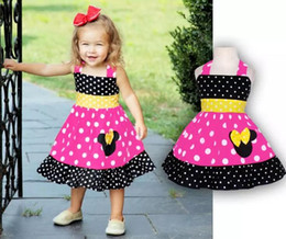 Wholesale Baby Pink Minnie Tutu Dress - Toddler Girl Sleeveless Minnie Dress Summer 2 colour!Baby Girls Cartoon Mouse Dresses Polka Dot Dress Girls Children's Clothing